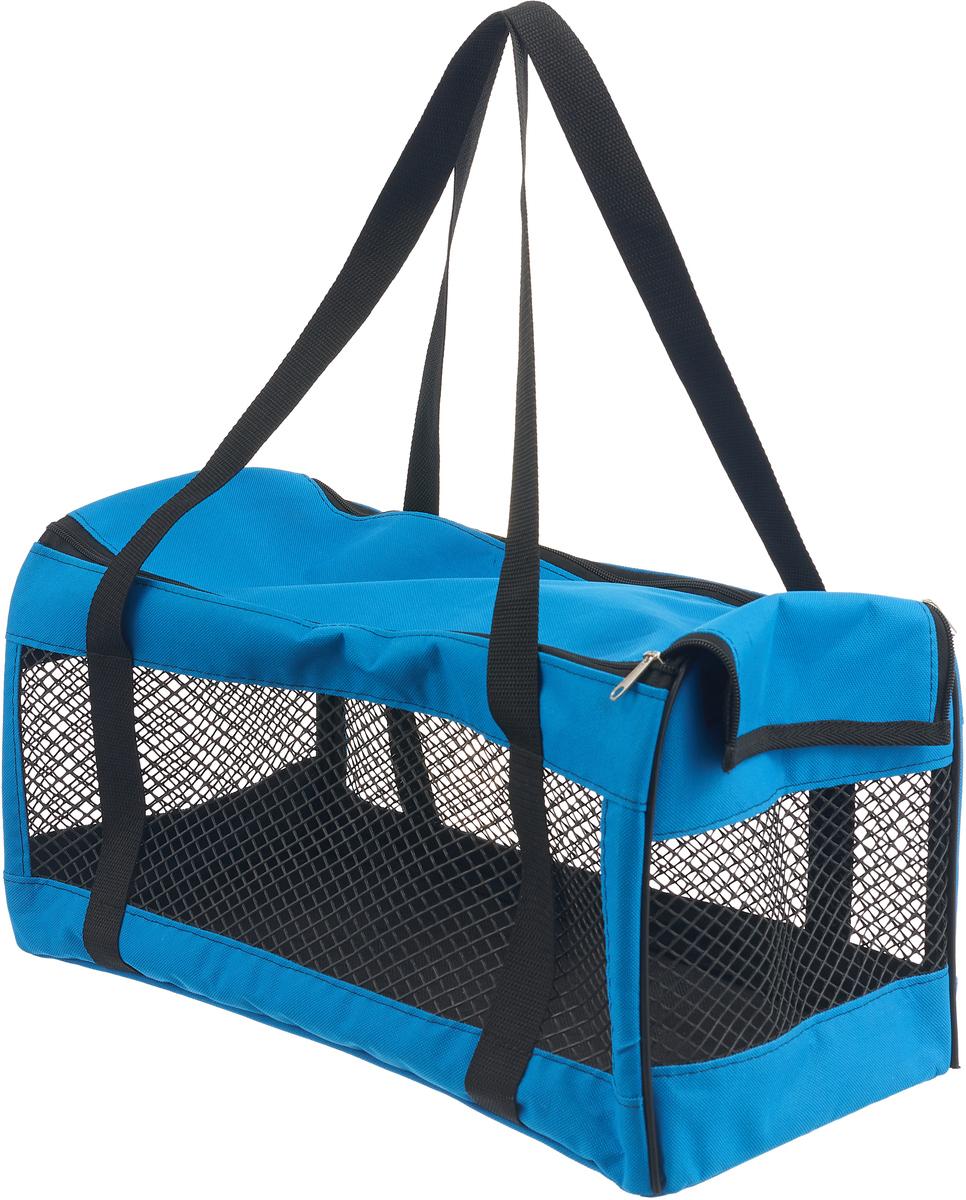 Сумка-переноска для животных Теремок, цвет: синий, 48 х 23 х 25 см сумка переноска для животных pets inn цвет черный