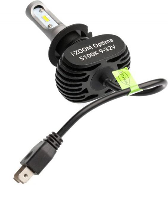 Лампа автомобильная Optima i-Zoom, светодиодная, White, цоколь H7, 9-32V, 2 шт 6000k white h7 h11 h4 car light bulbs rgbw cob led car headlight lamp conversion kit waterproof ip67 dc9 32v