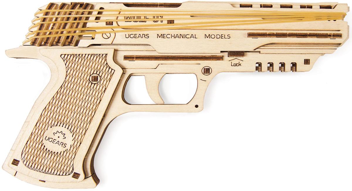 Ugears Конструктор 3D пазл Пистолет Вольф-01