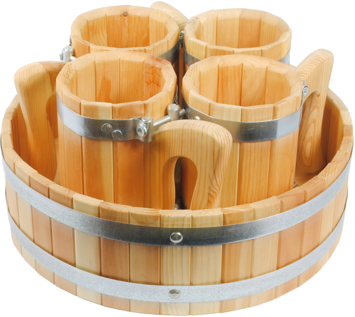 Набор кружек для бани Доктор Баня, с подносом, 5 предметов баня для женского здоровья