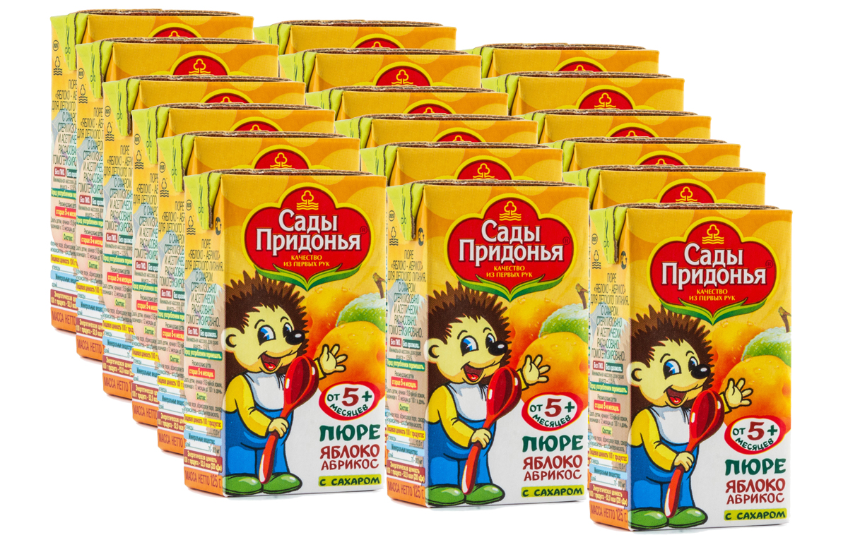 Сады Придонья пюре яблоко-абрикос с сахаром, 18 шт по 125 г сады придонья пюре кабачковое 120 г