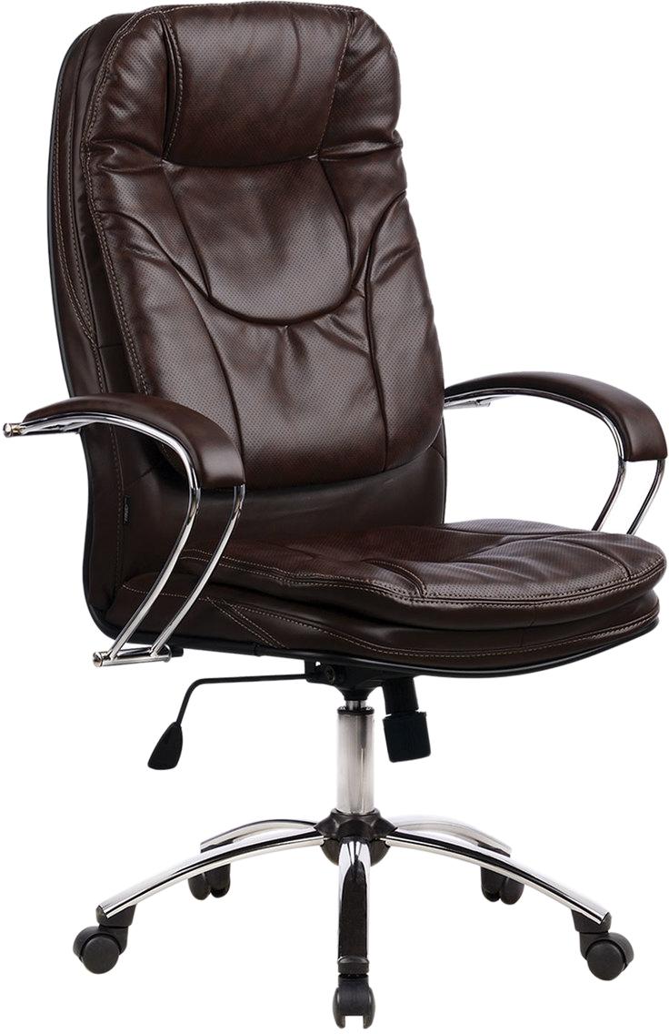 Кресло Метта, офисное, цвет: коричневый. 53150285840Роскошное кресло руководителя, оснащено сверхпрочным металлическим каркасом и долговечным и бесшумным механизмом качания на шарикоподшипниках, обивка из перфорированной кожи. Модель имеет анатомическую формы спинки с выраженной поддержкой поясничной зоны.Материал обивки - перфорированная кожа.Прочный стальной каркас.Механизм качания с возможностью фиксации кресла в рабочем положении.Регулируемая высота сиденья.Подлокотники - хромированные с мягкими накладками.Пятилучие - металлическое хромированное.Рекомендуемая нагрузка на кресло до 120 кг.Цвет обивки - коричневый. Крупногабаритный товар.