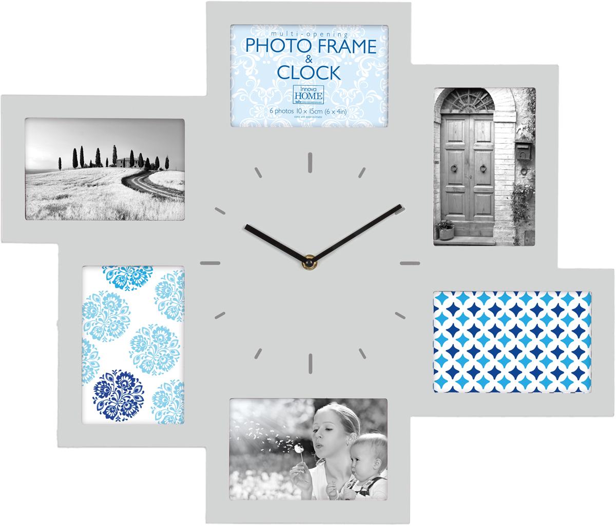 цена на Часы-мультирамка Innova W07369, на 6 фото 10х15, цвет: серый, 46 x 54 см