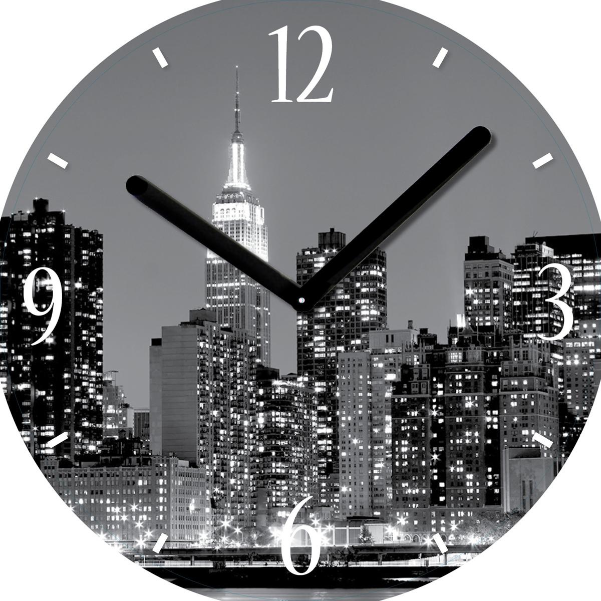 Часы настенные Innova Город, диаметр 30 см. W09672 часы настенные innova w09656 цвет белый диаметр 35 см