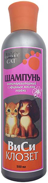 """Шампунь """"ВиСи Клозет"""" для кошек и собак, антипаразитарный, с эфирным маслом герани, 500 мл"""