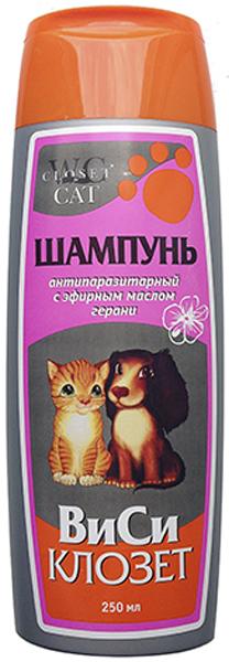 """Шампунь """"ВиСи Клозет"""" для кошек и собак, антипаразитарный, с эфирным маслом герани, 250 мл"""