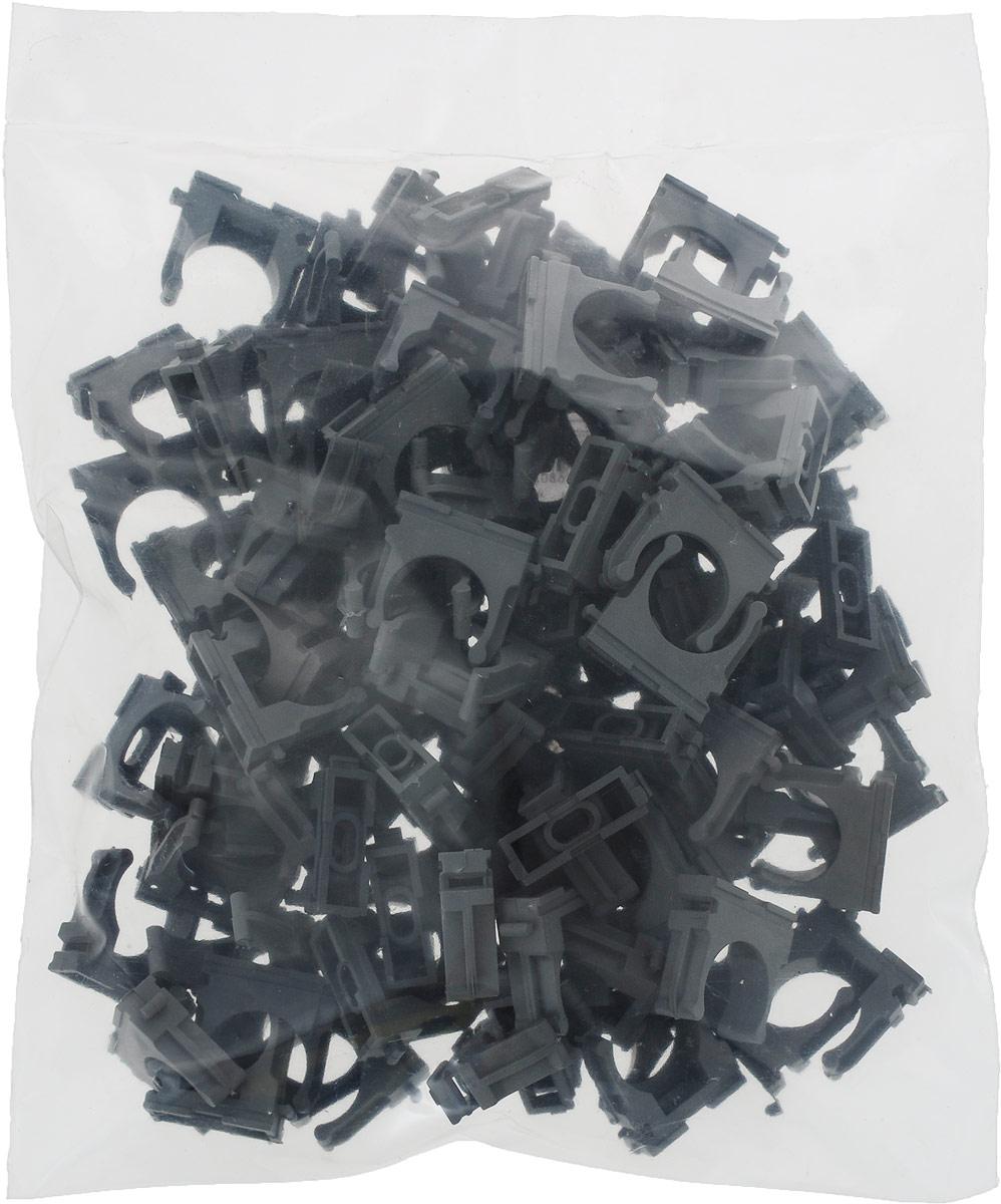 Крепеж-клипса Fortisflex, для труб, цвет: темно-серый, диаметр 25 мм, 100 шт аксессуар бандаж спиральный fortisflex бсп 8 59163