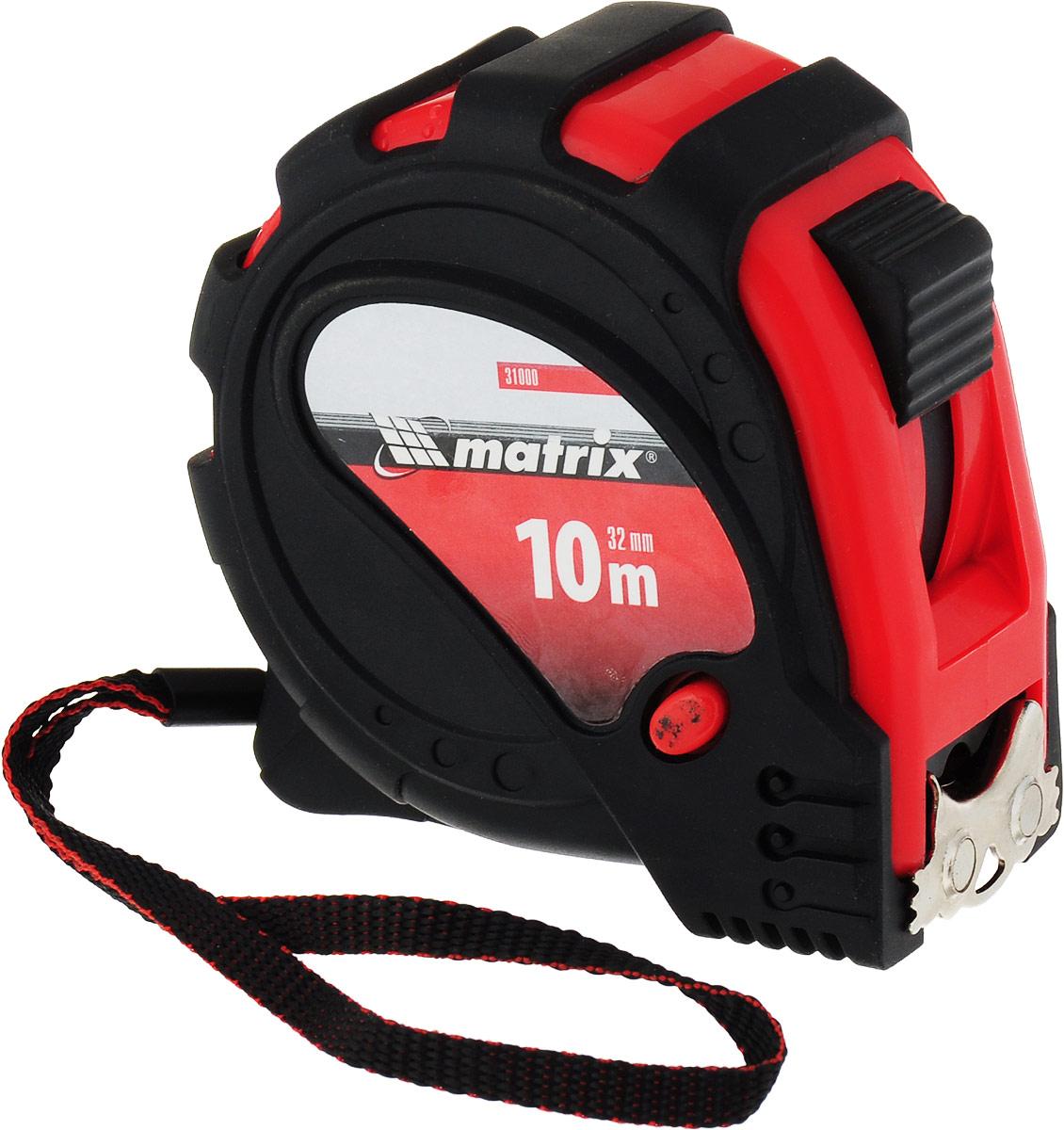 """Рулетка Matrix """"Status Magnet 3 Fixations"""", с магнитным зацепом, цвет: красный, 32 мм х 10 м"""