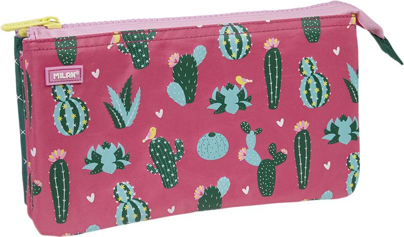 Milan Пенал-косметичка Cactus цвет розовый зеленый пенал milan flowers blue 081130fwb 259010