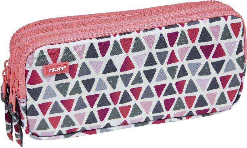 Milan Пенал-косметичка Geo Girl цвет розовый зеленый бордовый 3 отделения пенал milan flowers blue 081130fwb 259010