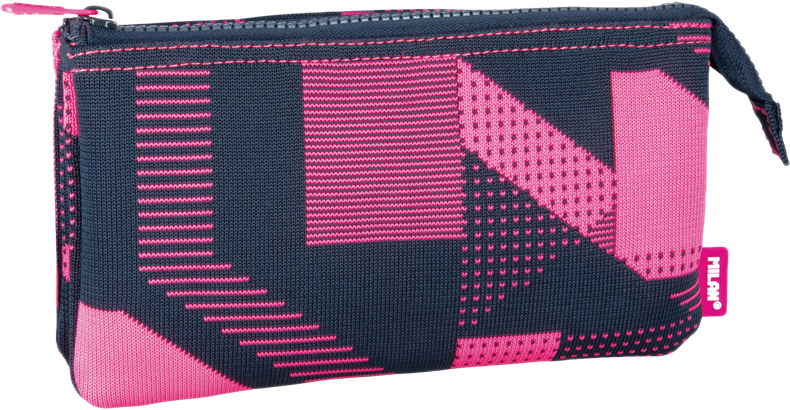 Milan Пенал-косметичка Knit цвет черный розовый 3 отделения