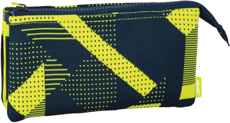 Milan Пенал-косметичка Knit цвет черный желтый 3 отделения пенал milan flowers blue 081130fwb 259010