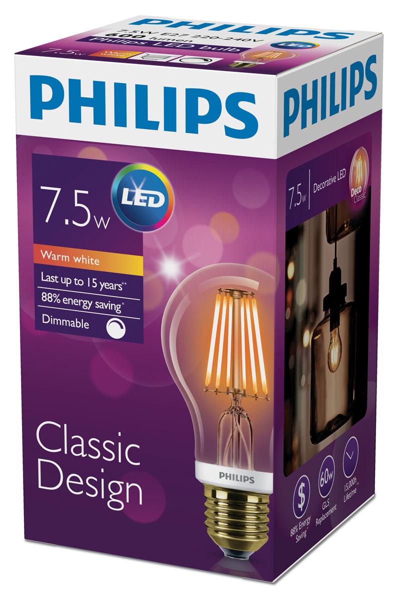 "Лампа светодиодная филаментная Philips ""LED bulb"", диммируемая, золотая колба, цоколь E27, 7,5W, 2000K"