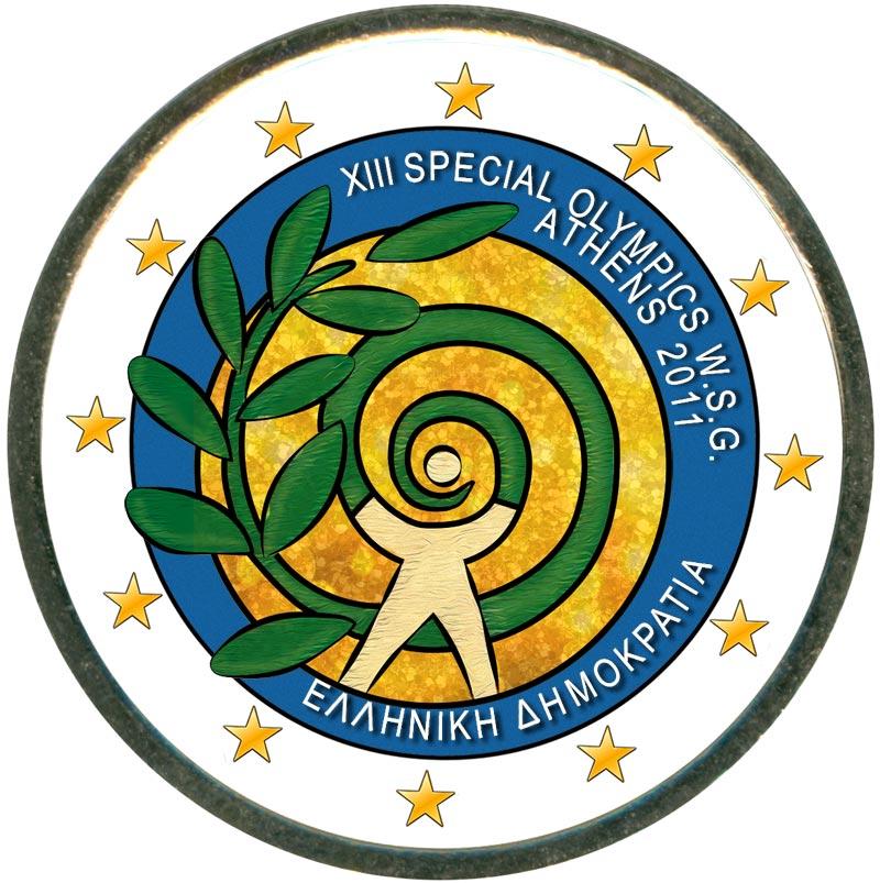 Монета номиналом 2 евро 2011 Греция, Всемирные Специальные Олимпийские игры Афины (цветная) цена