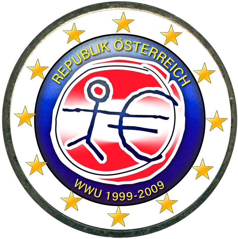 Монета номиналом 2 евро 2009 10 лет Экономическому и валютному союзу, Австрия (цветная) монета номиналом 2 евро 10 лет введения наличных евро германия 2012 год