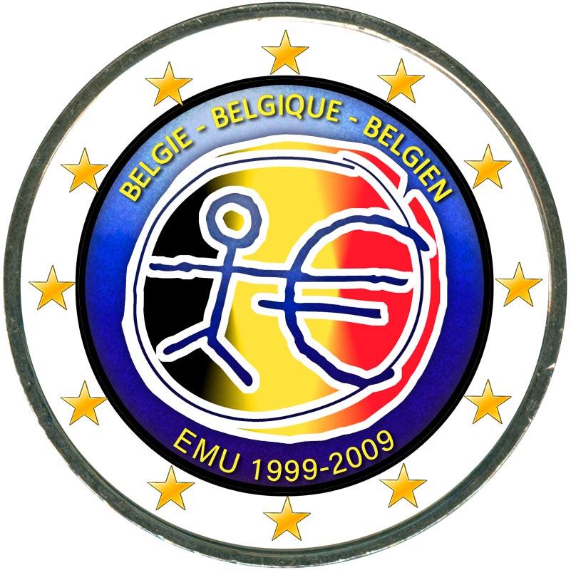 Монета номиналом 2 евро 2009 10 лет Экономическому и валютному союзу, Бельгия (цветная) монета номиналом 2 евро 2017 бельгия 200 лет университету гента цветная