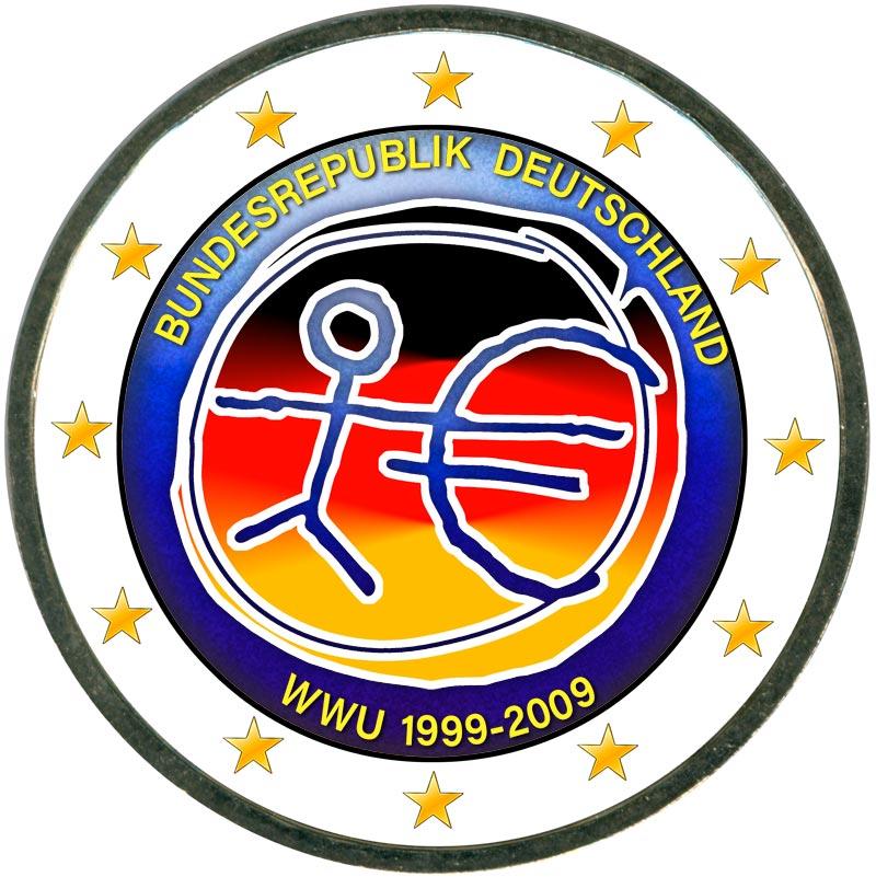Монета номиналом 2 евро 2009 10 лет Экономическому и валютному союзу, Германия (цветная) монета номиналом 2 евро 10 лет введения наличных евро германия 2012 год