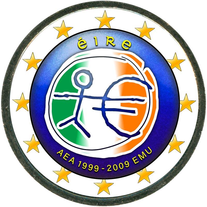 Монета номиналом 2 евро 2009 10 лет Экономическому и валютному союзу, Ирландия (цветная) монета номиналом 2 евро 10 лет введения наличных евро германия 2012 год