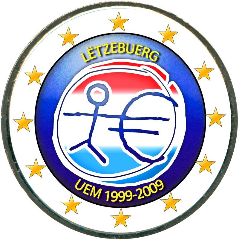 Монета номиналом 2 евро 2009 10 лет Экономическому и валютному союзу, Люксембург (цветная) монета номиналом 2 евро 10 лет введения наличных евро германия 2012 год