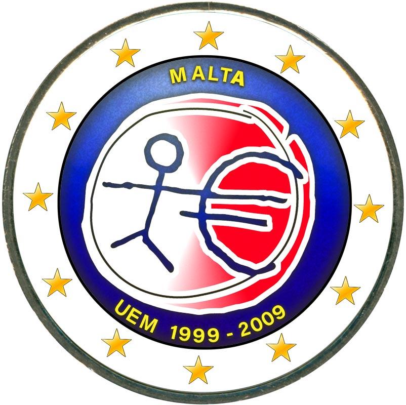 Монета номиналом 2 евро 2009 10 лет Экономическому и валютному союзу, Мальта (цветная) монета номиналом 2 евро 10 лет введения наличных евро германия 2012 год