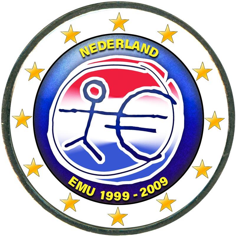 Монета номиналом 2 евро 2009 10 лет Экономическому и валютному союзу, Нидерланды (цветная) монета номиналом 2 евро 10 лет введения наличных евро германия 2012 год
