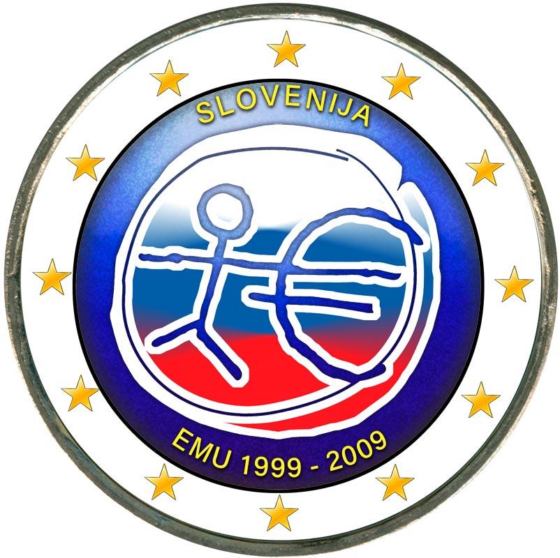 Монета номиналом 2 евро 2009 10 лет Экономическому и валютному союзу, Словения (цветная) монета номиналом 2 евро 10 лет введения наличных евро германия 2012 год