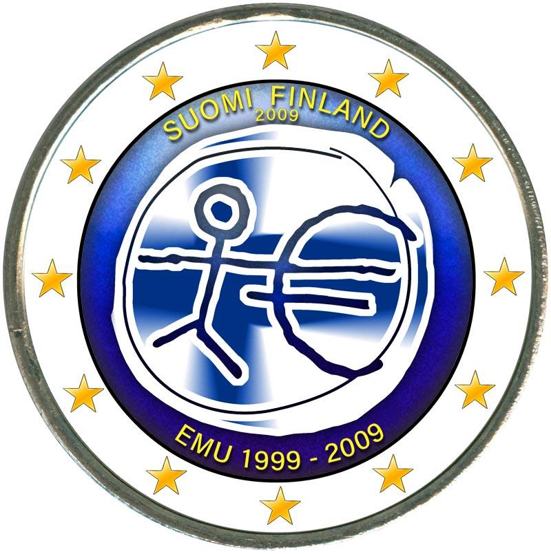 Монета номиналом 2 евро 2009 10 лет Экономическому и валютному союзу, Финляндия (цветная) цена