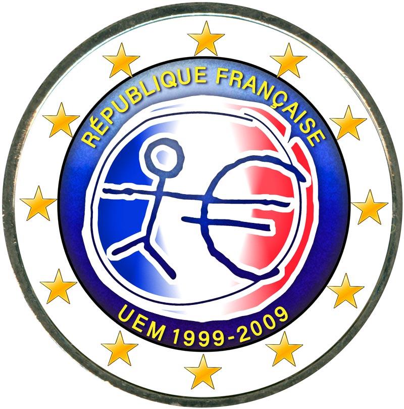 Монета номиналом 2 евро 2009 10 лет Экономическому и валютному союзу, Франция (цветная) монета номиналом 2 евро 10 лет введения наличных евро германия 2012 год