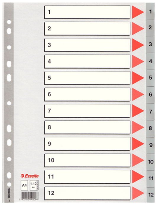 где купить Esselte Разделитель для папки А4 1-12 цвет серый дешево