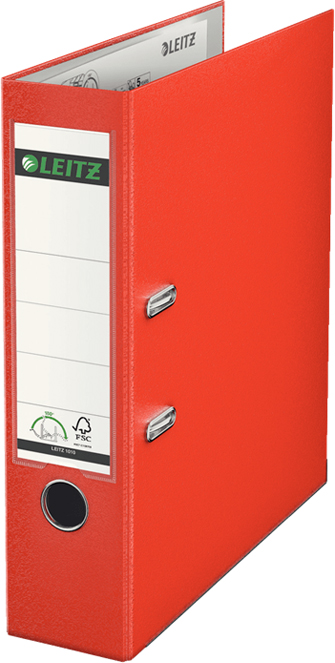 Папка-регистратор Leitz, 180°, обложка: 80 мм, цвет: светло-красный