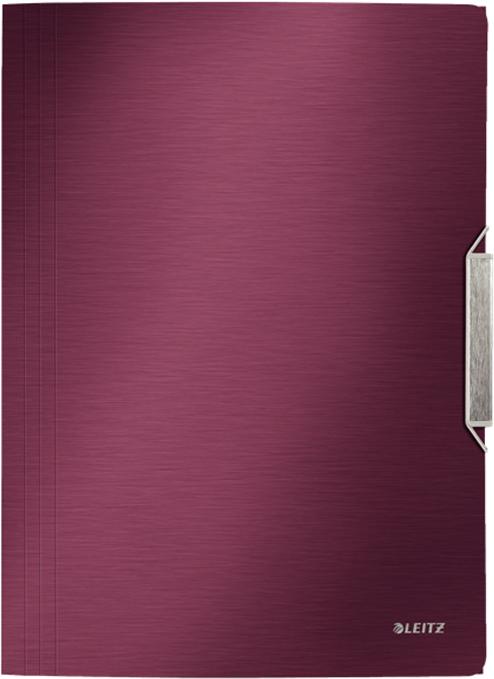 Leitz Папка на резинке Style цвет красный39770028Высококачественная папка с 3-мя клапанами из полипропилена с эффектом мягко отполированного металла. Идеально подходит для повседневного хранения бумаг и документов. Стильная застежка на резинке для надежной транспортировки.