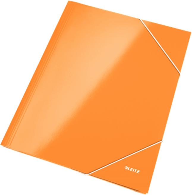 Leitz Папка на резинке WOW ламинированная цвет оранжевый