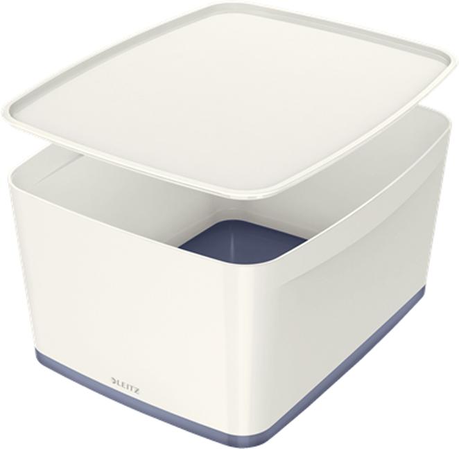 Leitz Короб архивный MyBox с крышкой большой цвет белый серый leitz короб архивный mybox с крышкой большой цвет белый зеленый