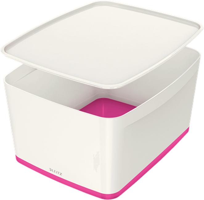 Leitz Короб архивный MyBox с крышкой большой цвет белый розовый leitz короб архивный mybox с крышкой большой цвет белый зеленый