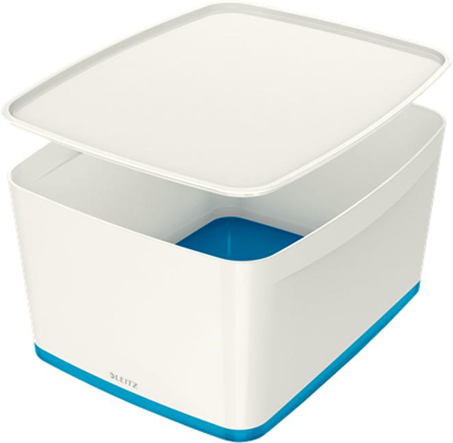 Leitz Короб архивный MyBox с крышкой большой цвет белый синий