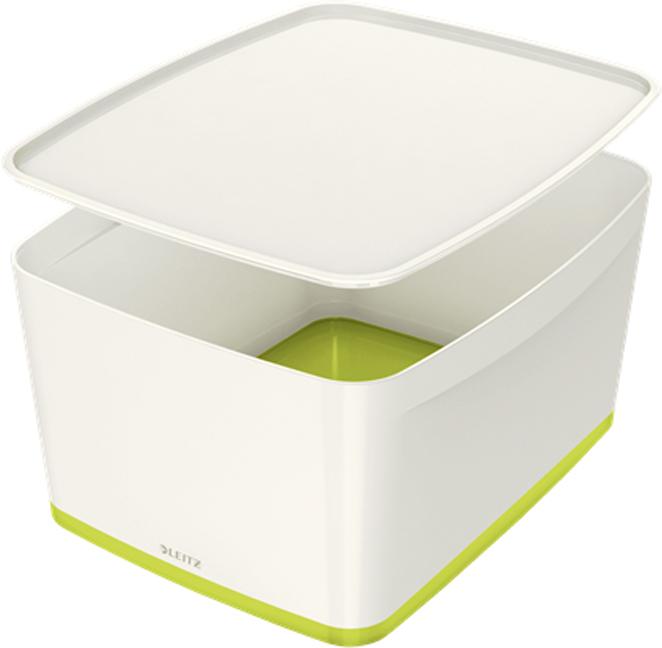 Leitz Короб архивный MyBox с крышкой большой цвет белый зеленый leitz короб архивный mybox с крышкой большой цвет белый зеленый