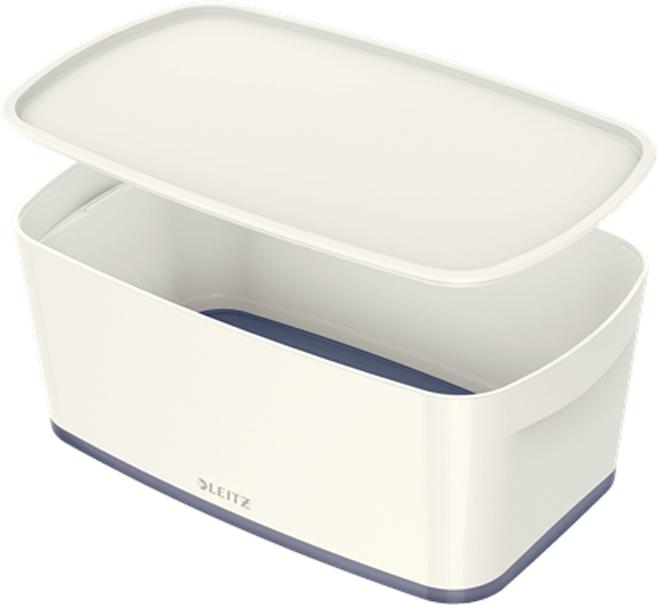 Leitz Короб архивный MyBox с крышкой малый цвет белый серый leitz короб архивный mybox с крышкой большой цвет белый зеленый