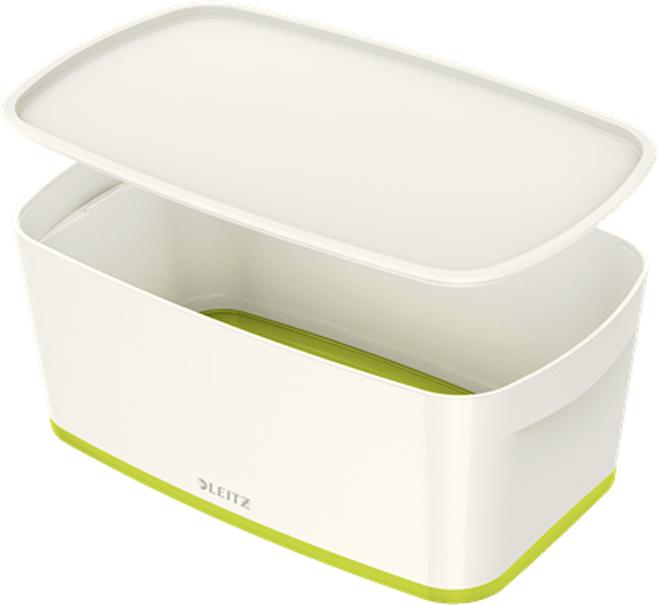 Leitz Короб архивный MyBox с крышкой малый цвет белый зеленый leitz короб архивный mybox с крышкой большой цвет белый зеленый