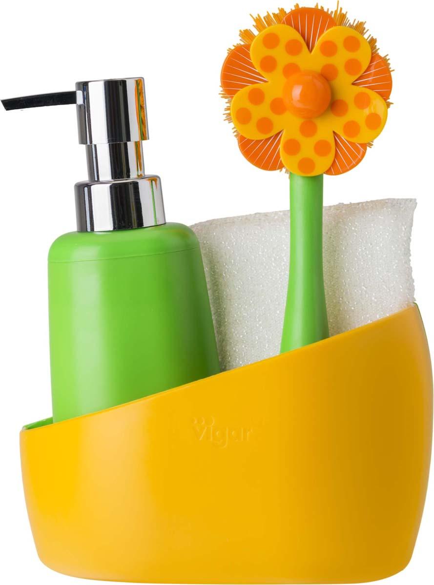 """Набор для мытья посуды Vigar """"Lolaflor"""", цвет: зеленый, оранжевый, 3 предмета"""