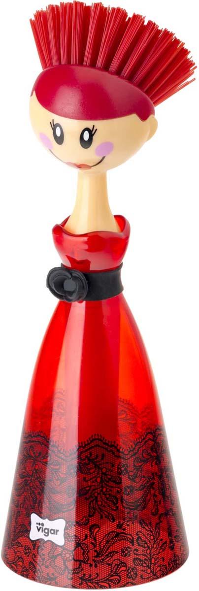 Щетка для посуды Vigar Dolls, цвет: красный, черный. 8028 цена