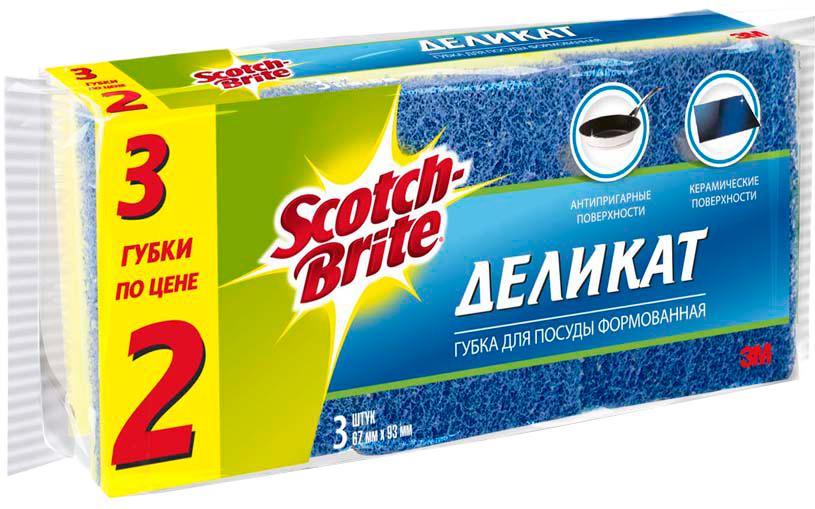 """Губка для мытья посуды Scotch-Brite """"Деликат"""", цвет: желтый, 6,7 х 9,3 см, 3 шт"""
