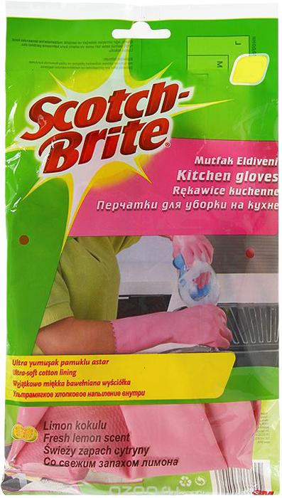 Перчатки хозяйственные Scotch-Brite, цвет: розовый, размер M салфетки для уборки scotch brite в рулоне цвет белый 24 х 25 см 70 листов