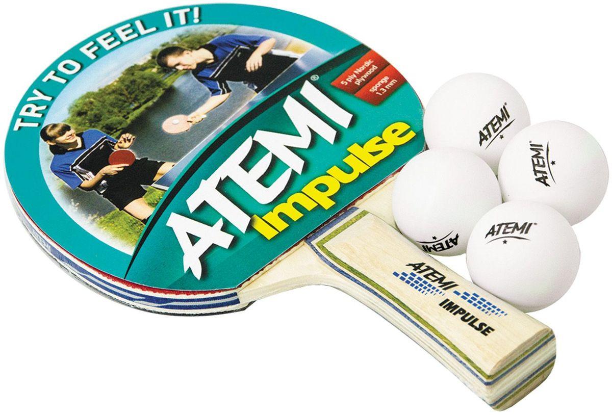 Набор для настольного тенниса Atemi Impulse, цвет: красный, 5 предметов мячи для настольного тенниса atemi atb102