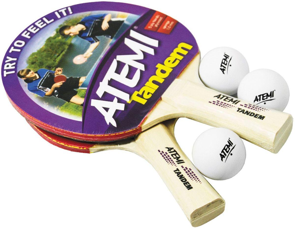 Набор для настольного тенниса Atemi Tandem, цвет: красный, 5 предметов мячи для настольного тенниса atemi atb102