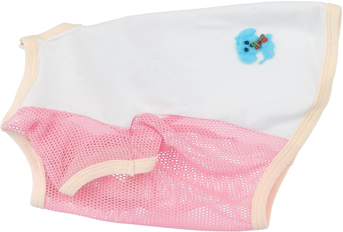 Майка для собак GLG 3 Д картинки, для девочки, цвет: белый, розовый. Размер L дождевик прогулочный для собак glg цветок цвет темно синий размер l
