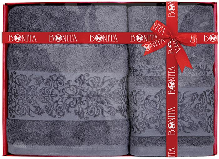 Набор банных полотенец Bonita Дамаск, цвет: темно-серый, 70 х 140 см, 2 шт набор банных полотенец bonita classic цвет светло бежевый 70 х 140 см 2 шт