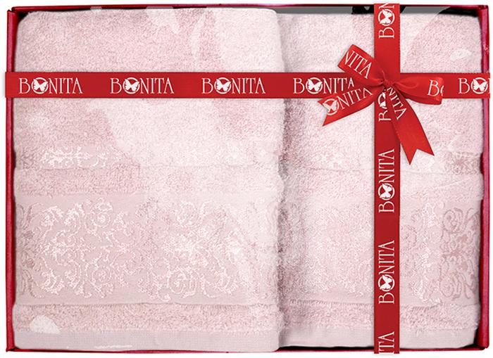 Набор банных полотенец Bonita Дамаск, цвет: розовый, 70 х 140 см, 2 шт набор банных полотенец bonita classic цвет светло бежевый 70 х 140 см 2 шт