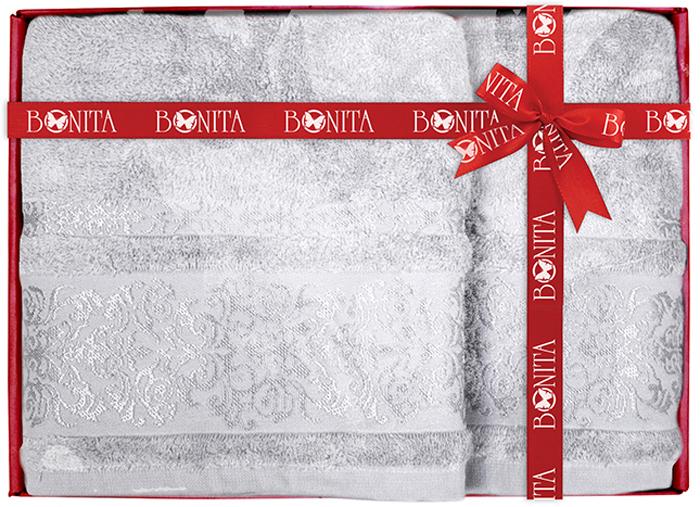 Набор банных полотенец Bonita Дамаск, цвет: серый, 70 х 140 см, 2 шт набор банных полотенец bonita classic цвет светло бежевый 70 х 140 см 2 шт