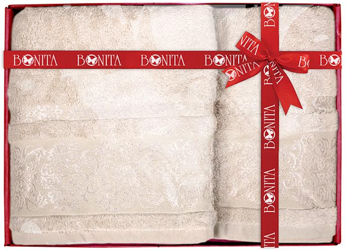 Набор банных полотенец Bonita Дамаск, цвет: светло-бежевый, 70 х 140 см, 2 шт набор банных полотенец bonita classic цвет светло бежевый 70 х 140 см 2 шт