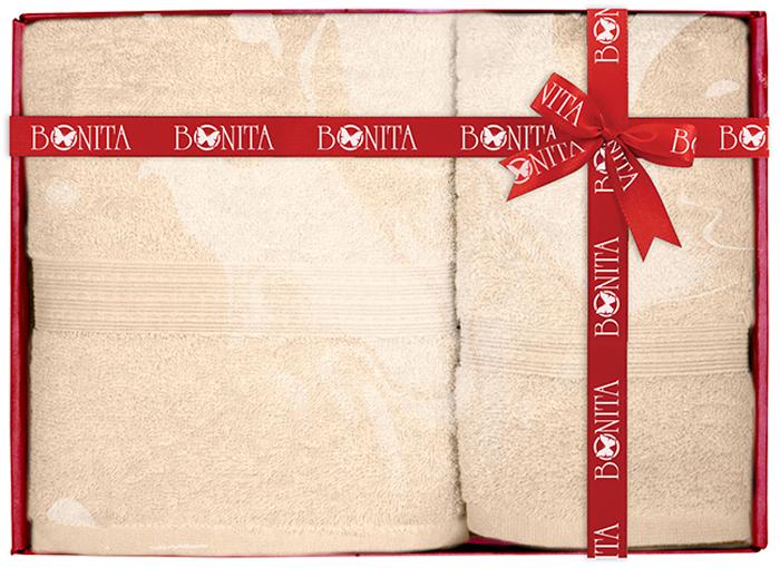 Набор банных полотенец Bonita Classic, цвет: бежевый, 70 х 140 см, 2 шт набор банных полотенец bonita classic цвет светло бежевый 70 х 140 см 2 шт